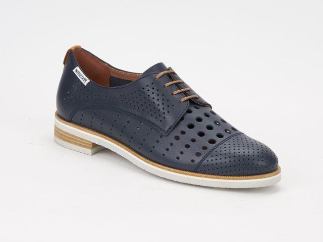 lacets femme modèle Pearl perf Cuir Marine - Mephisto