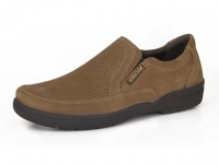Chaussure mephisto mocassins modele adelio perf nubuck taupe foncé