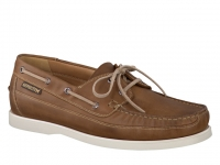 Chaussure mephisto mocassins modele boating cuir lisse brun moyen