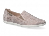 Chaussure mephisto velcro modele korie cuir taupe foncé